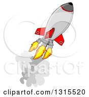 Clipart Of A Cartoon Rocket Shooting Off Into Space Royalty Free Illustration