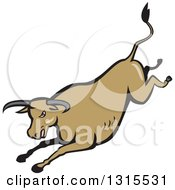 Clipart Of A Retro Cartoon Styled Running Brown Texas Longhorn Bull Royalty Free Vector Illustration by patrimonio
