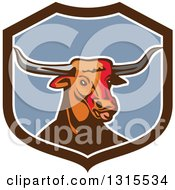 Clipart Of A Retro Texas Longhorn Steer Bull In A Brown White And Blue Shield Royalty Free Vector Illustration