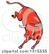 Clipart Of A Retro Cartoon Styled Running Red Texas Longhorn Bull Royalty Free Vector Illustration by patrimonio