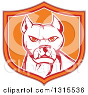 Clipart Of A Retro Cartoon Pitbull Guard Dog In A Tan Red Orange And White Shield Royalty Free Vector Illustration by patrimonio