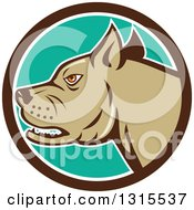 Clipart Of A Cartoon Growling Pitbull Guard Dog In A Brown White And Turquoise Circle Royalty Free Vector Illustration