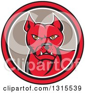 Clipart Of A Cartoon Pitbull Guard Dog In A Red Black White And Taupe Circle Royalty Free Vector Illustration by patrimonio