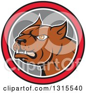 Clipart Of A Cartoon Brown Pitbull Guard Dog In A Red Black White And Gray Circle Royalty Free Vector Illustration by patrimonio