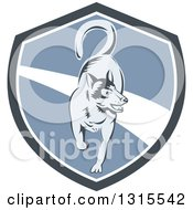 Clipart Of A Retro Woodcut Siberian Husky Dog Running In A Gray White And Blue Shield Royalty Free Vector Illustration by patrimonio