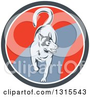 Clipart Of A Retro Woodcut Siberian Husky Dog Running In A Gray White And Red Circle Royalty Free Vector Illustration by patrimonio