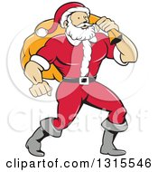 Clipart Of A Cartoon Buff Christmas Santa Claus Carrying A Sack Over His Shoulder Royalty Free Vector Illustration