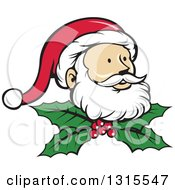 Clipart Of A Retro Cartoon Christmas Santa Claus Face Over Holly And Berries Royalty Free Vector Illustration