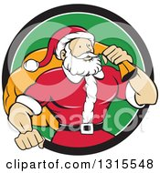 Clipart Of A Cartoon Buff Christmas Santa Claus Carrying A Sack Over His Shoulder And Emerging From A Black White And Green Circle Royalty Free Vector Illustration