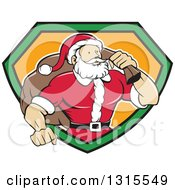 Clipart Of A Cartoon Buff Christmas Santa Claus Carrying A Sack Over His Shoulder And Emerging From A Black Green And Orange Shield Royalty Free Vector Illustration