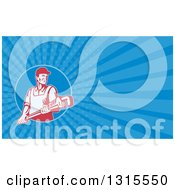 Clipart Of A Retro Red And White Male Plumber Holding A Monkey Wrench And Blue Rays Background Or Business Card Design Royalty Free Illustration