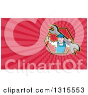 Clipart Of A Cartoon White Male Mechanic Holding A Giant Spanner Wrench And Giving A Thumb Up And Pink Rays Background Or Business Card Design Royalty Free Illustration