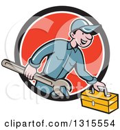 Clipart Of A Retro Cartoon Happy White Male Mechanic Runnign With A Spanner Wrench And A Tool Box Emerging From A Black White And Red Circle Royalty Free Vector Illustration