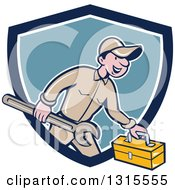 Clipart Of A Retro Cartoon Happy White Male Mechanic Runnign With A Spanner Wrench And A Tool Box Emerging From A Blue And White Shield Royalty Free Vector Illustration