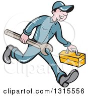 Clipart Of A Retro Cartoon Happy White Male Mechanic Runnign With A Spanner Wrench And A Tool Box Royalty Free Vector Illustration by patrimonio