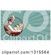 Clipart Of A Retro Woodcut Male Fishmonger Chopping Meat And Turquoise Rays Background Or Business Card Design Royalty Free Illustration by patrimonio