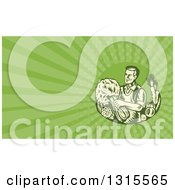Retro Woodcut Organic Farmer With With Produce And Green Rays Background Or Business Card Design
