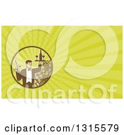 Clipart Of A Retro Male Waiter Serving Wine And Green Rays Background Or Business Card Design Royalty Free Illustration by patrimonio