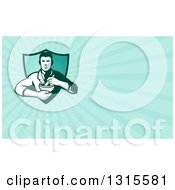 Retro Male Pharmacist Holding A Mortar And Pestle And Blue Rays Background Or Business Card Design