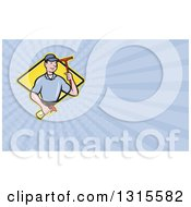 Cartoon White Male Window Cleaner Holding A Squeegee And Spray Bottle And Pastel Purple Rays Background Or Business Card Design