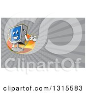 Poster, Art Print Of Cartoon Computer Character Holding A Stethoscope And Gray Rays Background Or Business Card Design