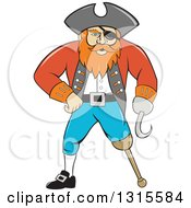 Retro Cartoon Captain Pirate With A Peg Leg And Hook Hand