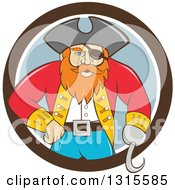 Clipart Of A Retro Cartoon Captain Pirate With A Peg Leg And Hook Hand Emerging From A Brown White And Gray Circle Royalty Free Vector Illustration