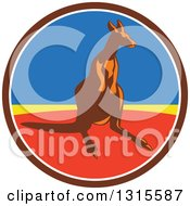Clipart Of A Retro Kangaroo In A Brown White Blue Yellow And Red Circle Royalty Free Vector Illustration by patrimonio
