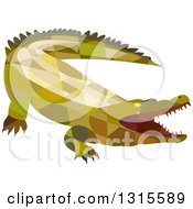Clipart Of A Retro Low Poly Geometric Angry Crocodile With An Open Mouth Royalty Free Vector Illustration by patrimonio