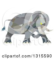 Clipart Of A Retro Low Poly Geometric Angry Elephant Ready To Attack Royalty Free Vector Illustration