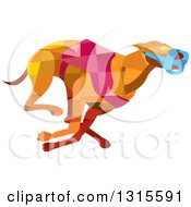 Clipart Of A Retro Low Poly Geometric Racing Greyhound Dog Royalty Free Vector Illustration by patrimonio