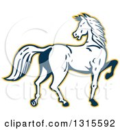 Clipart Of A Retro White And Dark Blue Prancing Horse Looking Back And Outlined In Yellow Royalty Free Vector Illustration