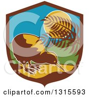 Clipart Of A Retro Kiwi Bird By Plants In The Moonlight Inside A Brown Blue Yellow And Green Shield Royalty Free Vector Illustration by patrimonio