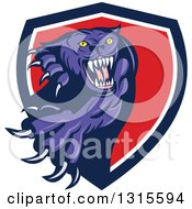 Clipart Of A Cartoon Aggressive Attacking Purple Black Panther Cat Emerging From A Blue White And Red Shield Royalty Free Vector Illustration