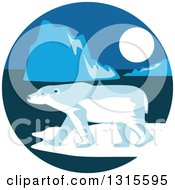 Clipart Of A Retro Polar Bear And Ice Burgs At Night In A Circle Royalty Free Vector Illustration by patrimonio