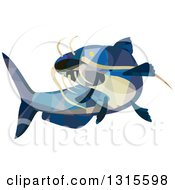 Clipart Of A Retro Low Poly Geometric Blue Catfish Swimming Royalty Free Vector Illustration by patrimonio