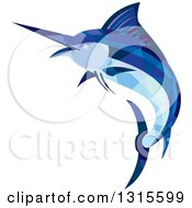 Clipart Of A Retro Low Poly Geometric Blue Marlin Fish Jumping And Facing Left Royalty Free Vector Illustration