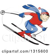 Clipart Of A Cartoon Happy White Male Skier Going Downhill Royalty Free Vector Illustration