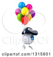 Clipart Of A 3d Blue Police Eyeball Character Facing Right Floating With Party Balloons Royalty Free Illustration
