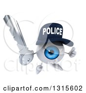 Clipart Of A 3d Blue Police Eyeball Character Holding Up A Thumb And A Key Royalty Free Illustration