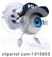 Clipart Of A 3d Blue Police Eyeball Character Facing Slightly Right Jumping And Holding A Euro Symbol Royalty Free Illustration