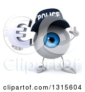 Clipart Of A 3d Blue Police Eyeball Character Holding Up A Finger And A Euro Symbol Royalty Free Illustration