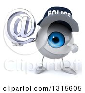 Clipart Of A 3d Blue Police Eyeball Character Holding And Pointing To An Email Arobase At Symbol Royalty Free Illustration