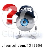 Clipart Of A 3d Blue Police Eyeball Character Holding A Question Mark Royalty Free Illustration