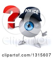 Clipart Of A 3d Blue Police Eyeball Character Shrugging And Holding A Question Mark Royalty Free Illustration