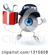 Clipart Of A 3d Blue Police Eyeball Character Jumping And Holding A Gift Royalty Free Illustration