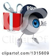 Clipart Of A 3d Blue Police Eyeball Character Facing Slightly Right Jumping And Holding A Gift Royalty Free Illustration