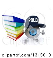 Clipart Of A 3d Blue Police Eyeball Character Holding Up A Thumb And Stack Of Books Royalty Free Illustration