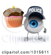 Clipart Of A 3d Blue Police Eyeball Character Holding A Chocolate Frosted Cupcake Royalty Free Illustration