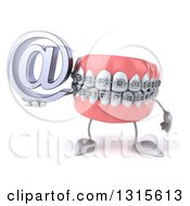 Clipart Of A 3d Metal Mouth Teeth Mascot With Braces Holding An Email Arobase At Symbol Royalty Free Illustration
